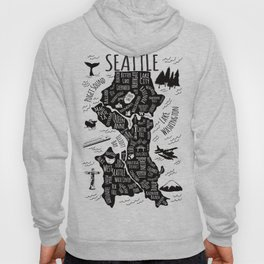 Seattle Illustrated Map in Black and White - Single Print Hoody