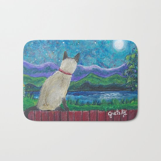 Siamese Cat in the Moonlight Bath Mat