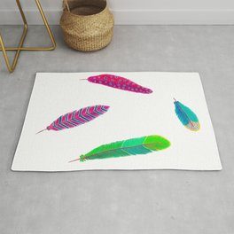 Colorful feathers on white Rug
