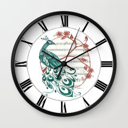 Peacock (Peacock and Cherry Blossoms on Sheet Music) Wall Clock
