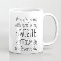 "winnie the pooh Mugs featuring  Winnie the Pooh quote  ""FAVORITE""  by SimpleSerene"