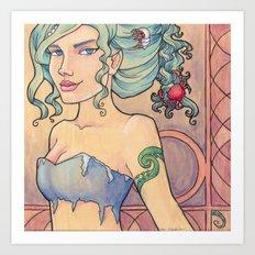 Tattooed Mermaid 8 Art Print