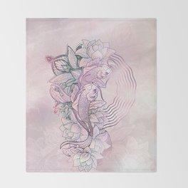 Koi Fish Mandala Throw Blanket