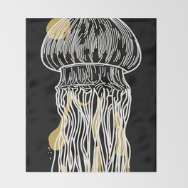 Electric Gold Jellyfish Uno Throw Blanket