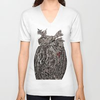 greg guillemin V-neck T-shirts featuring Owl Abstract by Greg Phillips by SquirrelSix