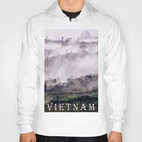 vietnam Hoodies featuring FOGGY MOUNTAIN - VIETNAM - ASIA by CAPTAINSILVA