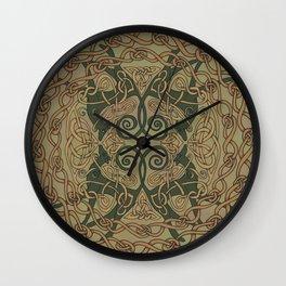 Celtic Greyhounds - Natural Green Wall Clock