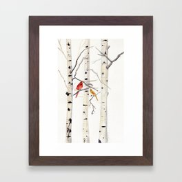 Birch Trees and Cardinal Framed Art Print