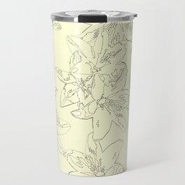 yellow line art floral pattern Travel Mug