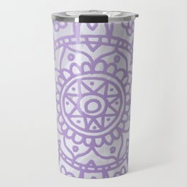 Lavender Mandala on White Marble Travel Mug