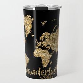 world map gold black Travel Mug