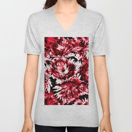 Red Black Abstract Flower Pattern  #Dahlias #Flowers Unisex V-Neck