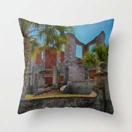 Abandoned mansion in ruins Throw Pillow
