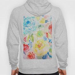 Watercolor Abstract Floral Pattern Ranunculus  Hoody