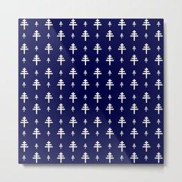 Papal cross 1 dark blue Metal Print