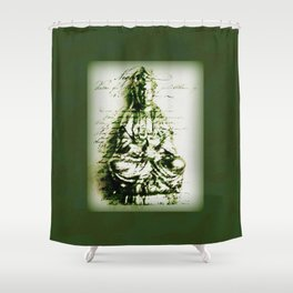 Antique Green Kwan Yin Shower Curtain