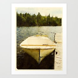 Dock and Dory, Lily Bay State Park, Maine Art Print