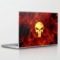 punisher Laptop & iPad Skins featuring PUNISHER SKULL FLAME by alexa