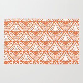 Butterfly and Flower Pattern Orange 2 Rug