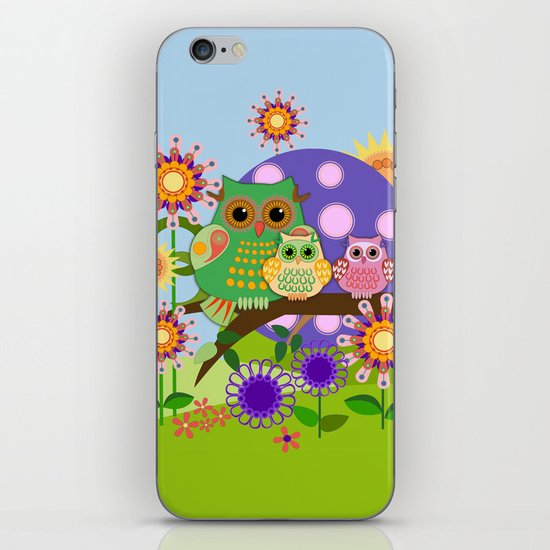 Owls, Flowers Fantasy design iPhone & iPod Skin