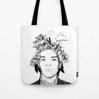 basquiat Tote Bags featuring Basquiat by offthefaceoftheearth