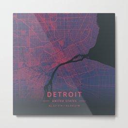 Detroit, United States - Neon Metal Print