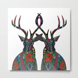 poinsettia deer white Metal Print