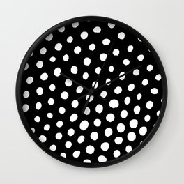White Dots with Black Background Wall Clock