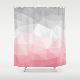 pink and grey polygon 2018 Shower Curtain