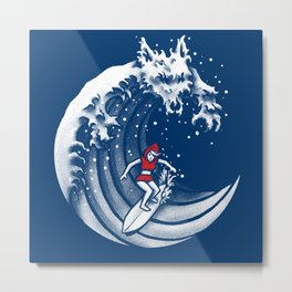 Little Red Surfing Hood Metal Print