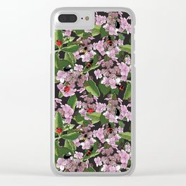 Floral insects pattern Clear iPhone Case