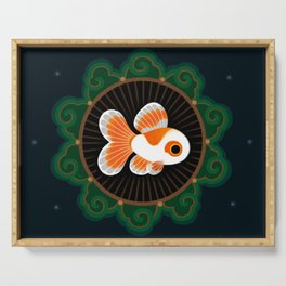 Butterfly goldfish - white Serving Tray