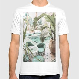 Travel Photography Art Print | Tropical Plant Leaves In Marrakech Photo | Green Pool Interior Design T-shirt