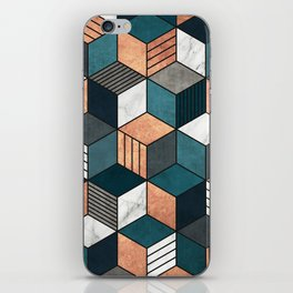 Copper, Marble and Concrete Cubes 2 with Blue iPhone Skin