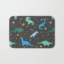 Dinosaurs in Space in Blue Bath Mat
