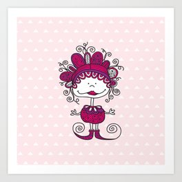 Doodle Doll with Curls on Pink Background Art Print