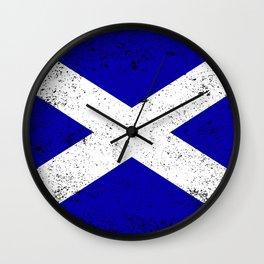 Scotish Flag Grunge Wall Clock
