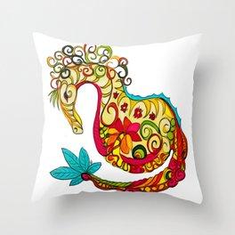 Candy Sea Horse Throw Pillow