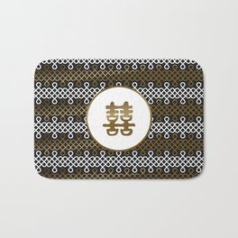 Double Happiness Symbol on Endless Knot pattern Bath Mat