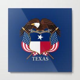 Texas flag and eagle crest - original design by BruceStanfieldArtist Metal Print