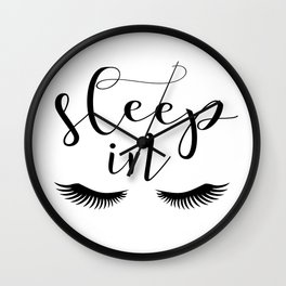 SLEEP IN PRINT, Let's Sleep In,Lashes Decor,Lashes Art,Good Night Print,Teen Girls,Calligraphy Quote Wall Clock
