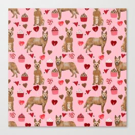 Australian Cattle Dog red heeler valentines day cupcakes hearts love dog breed gifts Canvas Print