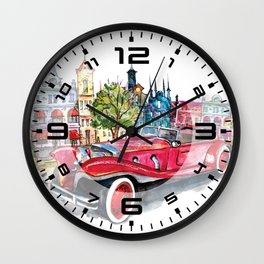 Red antique car Wall Clock