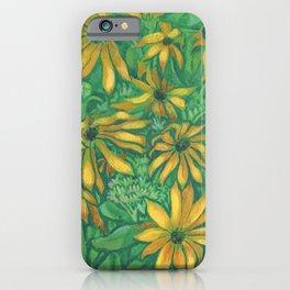 Jerusalem Artichoke Sunchoke Sun Flowers Green & Gold iPhone Case