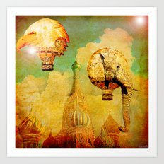 Hot-air balloons animal in Moscow Art Print