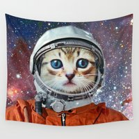 luigi Wall Tapestries featuring Astronaut Cat by Luigi Tarini