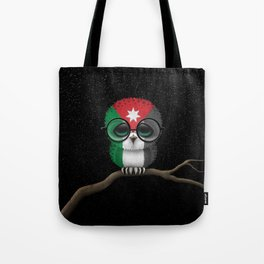 Baby Owl with Glasses and Jordanian Flag Tote Bag
