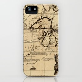Map Of The Great Lakes 1688 iPhone Case