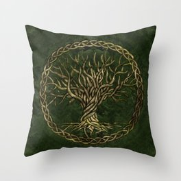 Tree of life -Yggdrasil -green and gold Throw Pillow