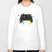 xbox Long Sleeve T-shirts featuring Controller Graffiti XBox One by AngoldArts
